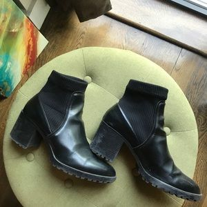 Zara Black Heel Ankle Boots With Traction